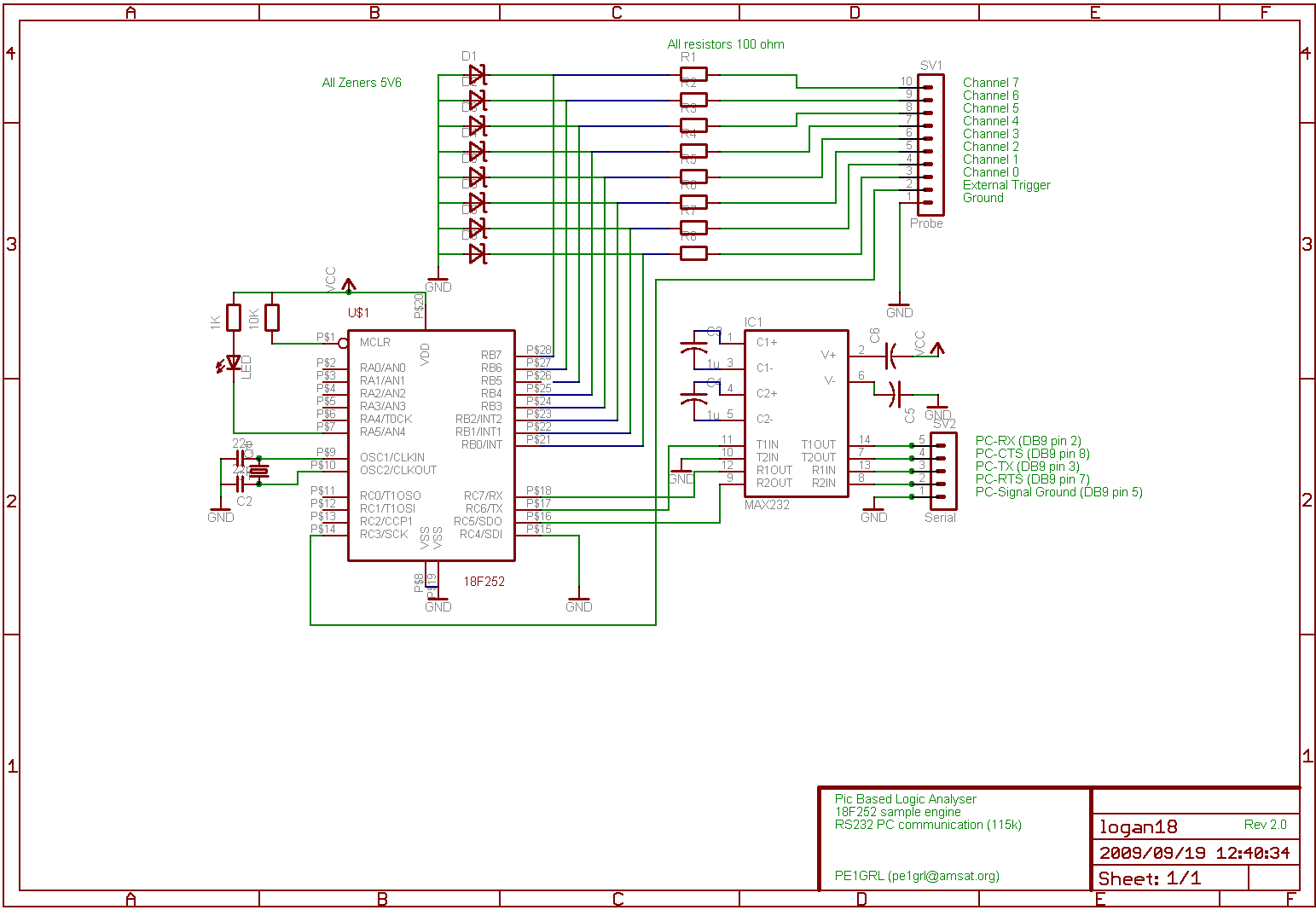 Picla18 18f252 Based Capture Device Rs232 Schematic Click Here For The